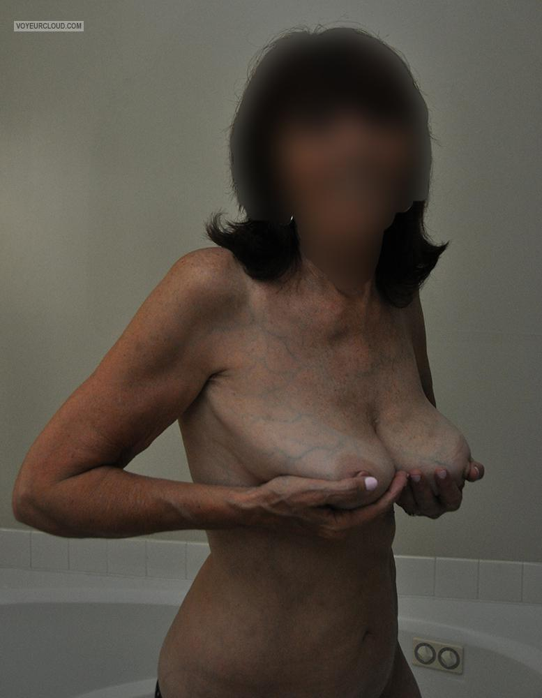 Tit Flash: Wife's Tanlined Medium Tits - Diana from United States